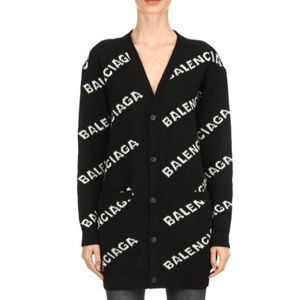 BALENCIAGA Wool Long Sleeve Logo Cardigan